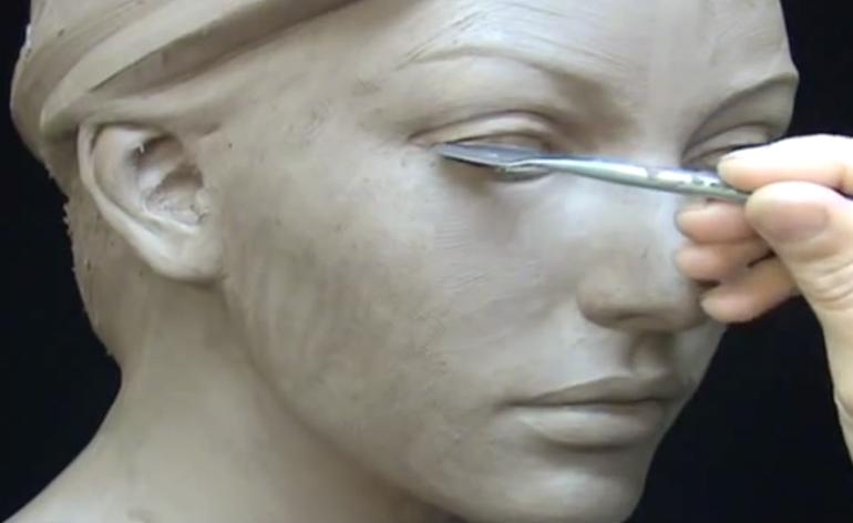 sculpture argile visage